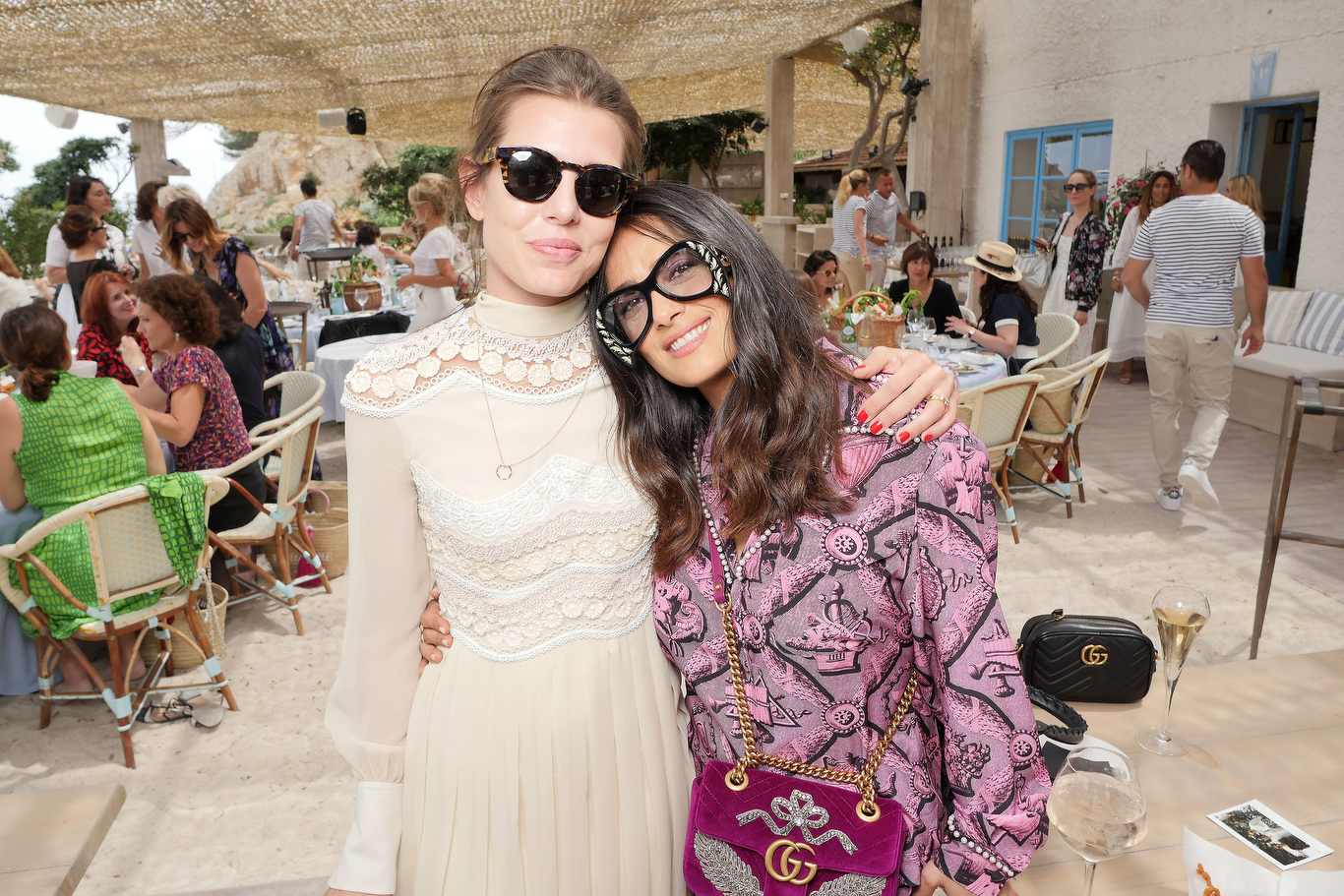 Charlotte Casiraghi and Salma Hayek at the Kering and Madame Figaro Women in Film Cannes lunch