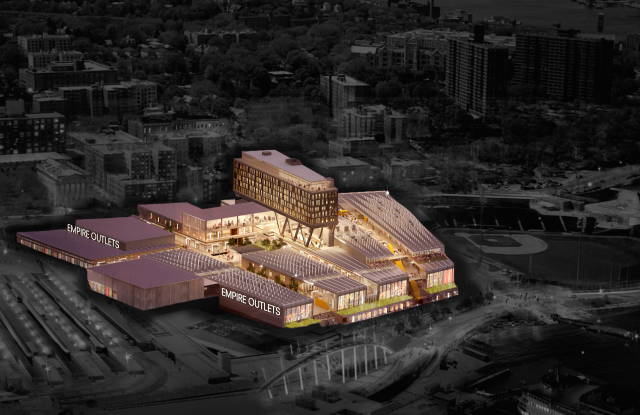 A rendering of a bird's eye view of Empire Outlets.