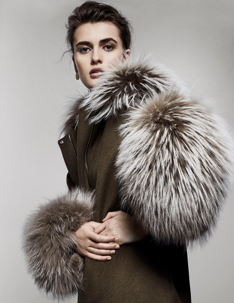 Adeam's wool and cashmere parka with Chinese raccoon fur. Ming Yu Wang earring (worn throughout).