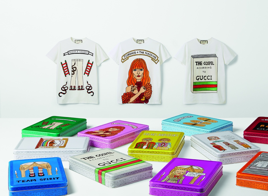 Gucci's limited-edition line of T-shirts with Angelica Hicks' illustrations.