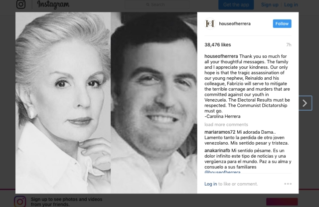 Carolina Herrera's Instagram post following her nephew's death.