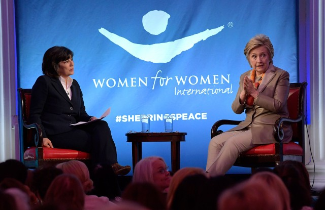 NEW YORK, NY - MAY 02:  Journalist Christiane Amanpour (L) and former United States Secretary of State Hillary Clinton speak during The Women For Women International's Luncheon at 583 Park Avenue on May 2, 2017 in New York City.  (Photo by Ben Gabbe/Getty Images) *** Local Caption *** Christiane Amanpour; Hillary Clinton