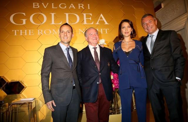 Bella Hadid with Bulgari perfume division's managing director Luis Miguel Gonzalez Sebastiani, the nose Alberto Morillas and Bulgari Group's chief executive officer Jean-Christophe Babin.