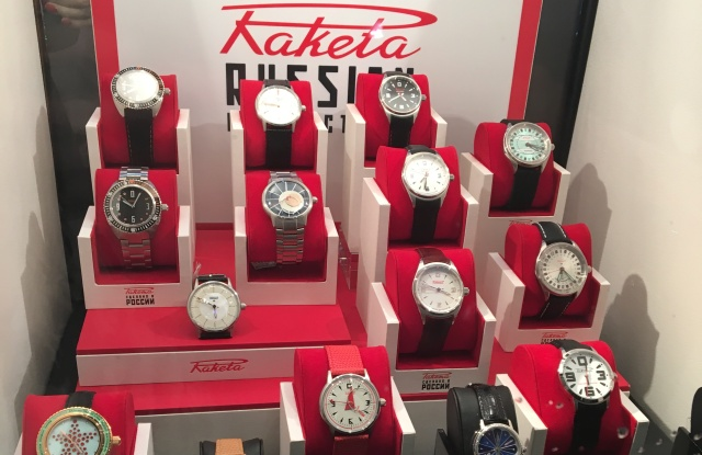 Watch designs from Raketa in the store window at Freret-Roy