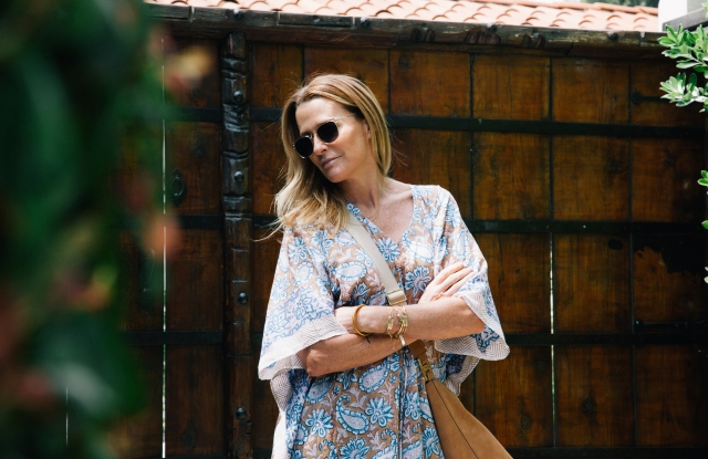 India Hicks wearing Finlay & Co. sunglasses and a Holicow caftan.