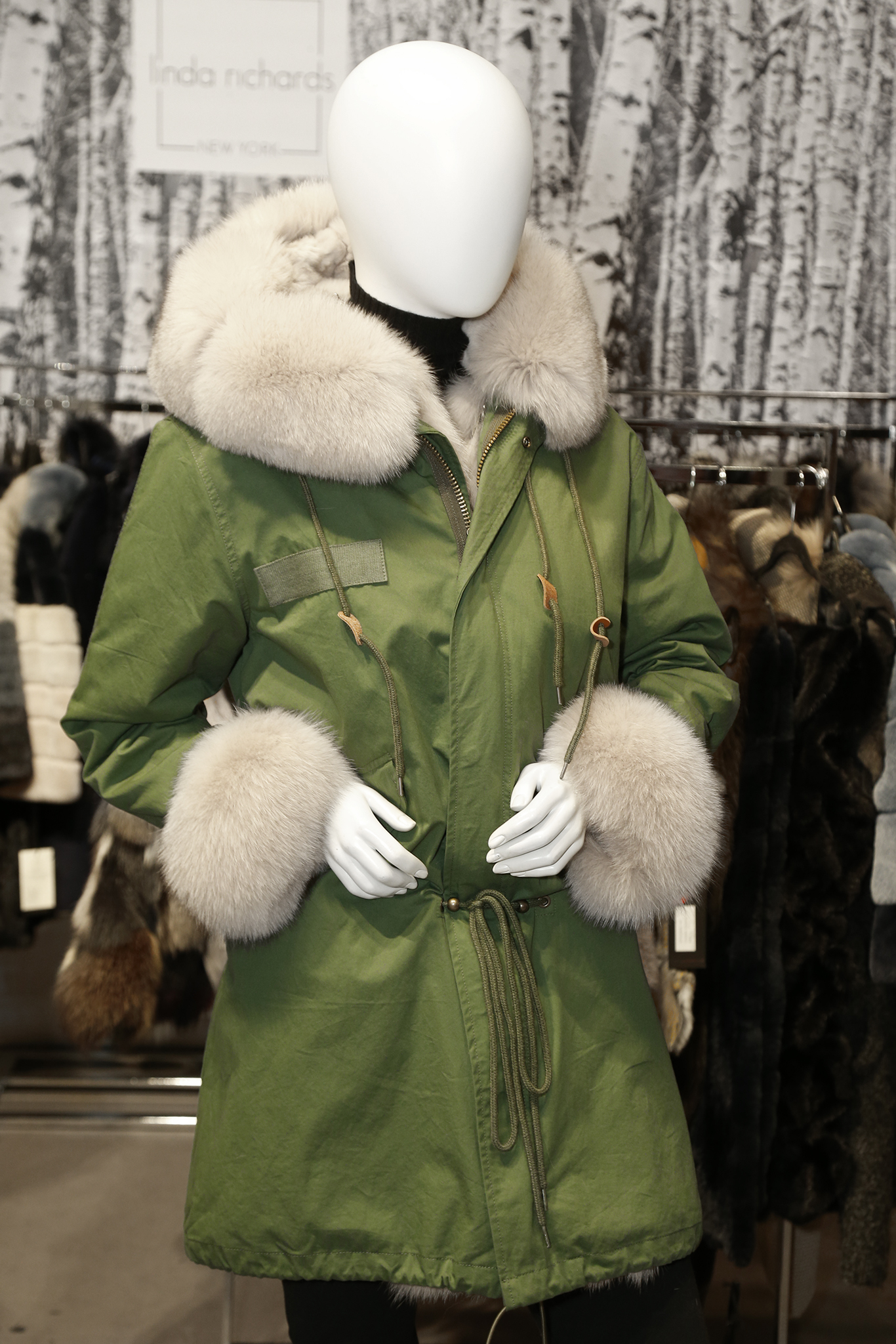 A fur-lined jacket from Linda Richards.