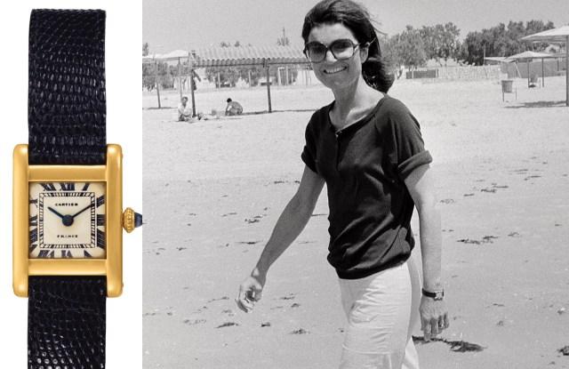 Jacqueline Kennedy Onassis wearing her Cartier Tank watch in 1978.