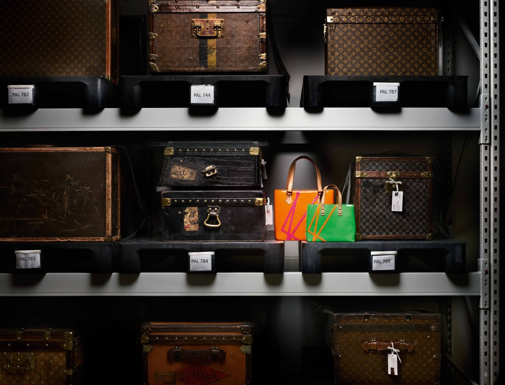 Bags from a collaboration between Louis Vuitton and Robert Wilson in 2002.