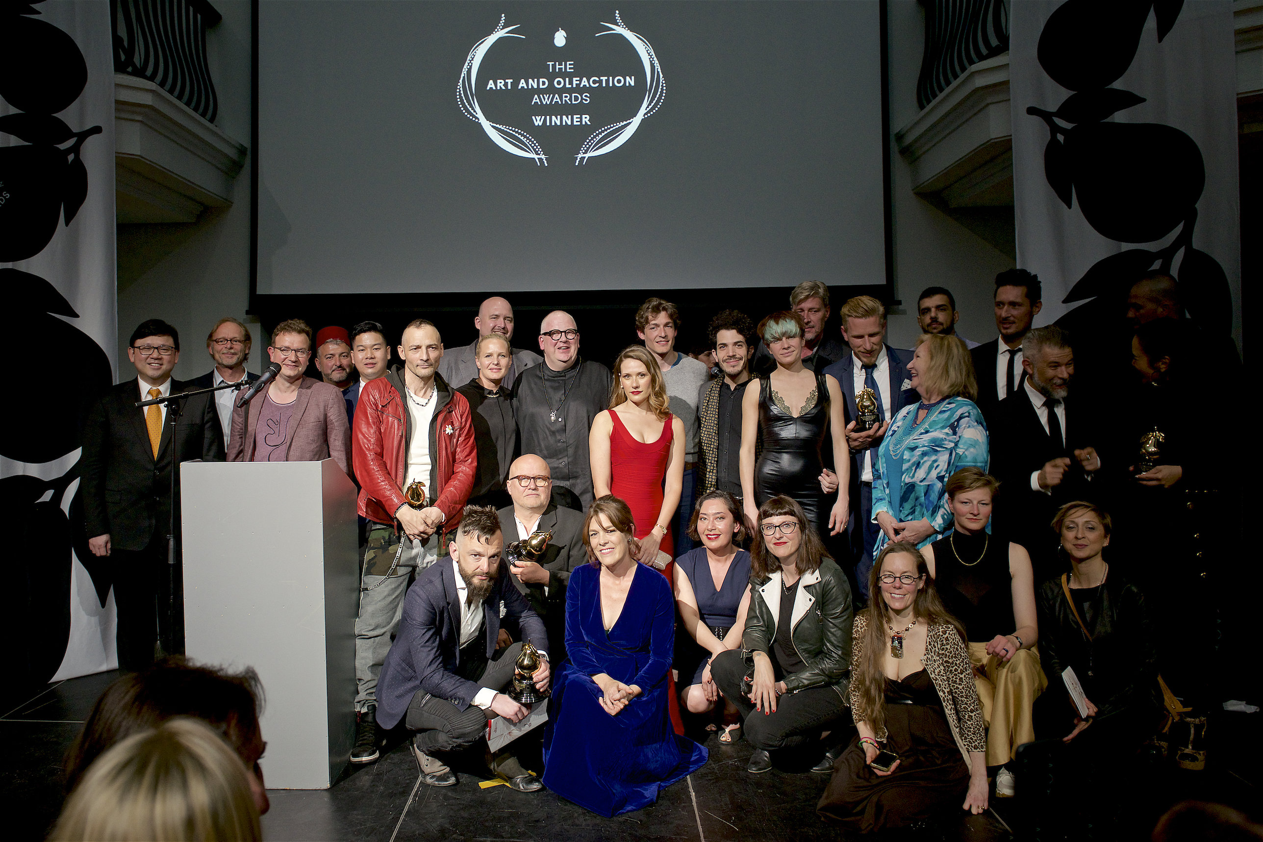 Winners, finalists, and judges at The Art and Olfaction Awards in Berlin.