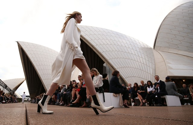 SYDNEY, AUSTRALIA - MAY 14:  A model walks the runway during the Mercedes-Benz Presents Dion Lee show at Mercedes-Benz Fashion Week Resort 18 Collections at the Sydney Opera House on May 14, 2017 in Sydney, Australia.  (Photo by Brendon Thorne/Getty Images)