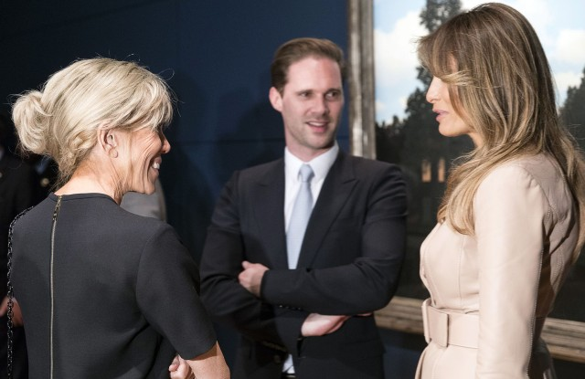 Copyright 2017 The Associated Press. All rights reserved. This material may not be published, broadcast, rewritten or redistributed without permission.Mandatory Credit: Photo by AP/REX/Shutterstock (8841803g)Melania Trump, right, wife of US President Donald Trump speaks with Brigitte Macron, wife of French President Emmanuel Macron as they visit the Magritte Museum in Brussels on . US President Donald Trump is in Belgium for a two day visit which will include a meeting with EU officials and a NATO summitNATO Summit, Brussels, Belgium - 25 May 2017