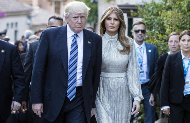 Donald J. Trump and Melania TrumpG7 Summit in Taormina, Italy - 26 May 2017US President Donald J. Trump (L) and First Lady Melania Trump (2-L) arrive at the Greek Theater to attend a concert, on the sideline of the G7 Summit in Taormina, Sicily island, Italy, 26 May 2017. Heads of States and of Governments of the G7, the group of most industrialized economies, plus the European Union, meet in Taormina, Italy, from 26 to 27 May 2017 for a summit titled 'Building the Foundations of Renewed Trust'.