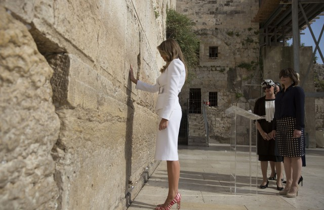 Melania TrumpUS President Trump in Israel, Jerusalem - 22 May 2017US First Lady Melania Trump touches the Western Wall, Judaism's holiest prayer site, in Jerusalem's Old City, 22 May 2017. President Trump and his contingent arrived for a 28-hour visit to Israel and the Palestinian Authority areas on his first foreign trip since taking office in January.