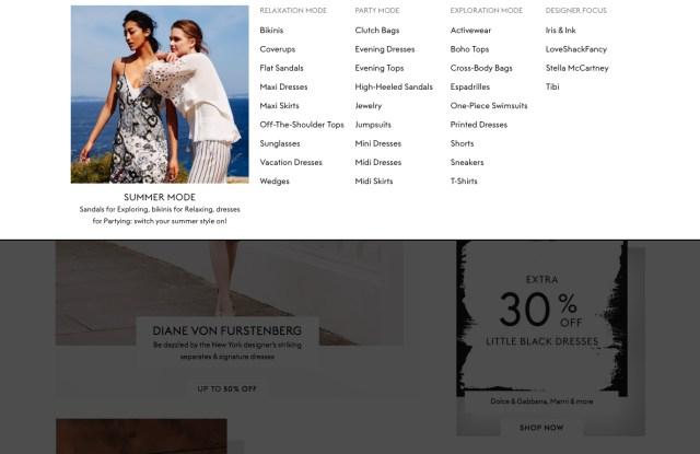 The Outnet.com's new navigational menu
