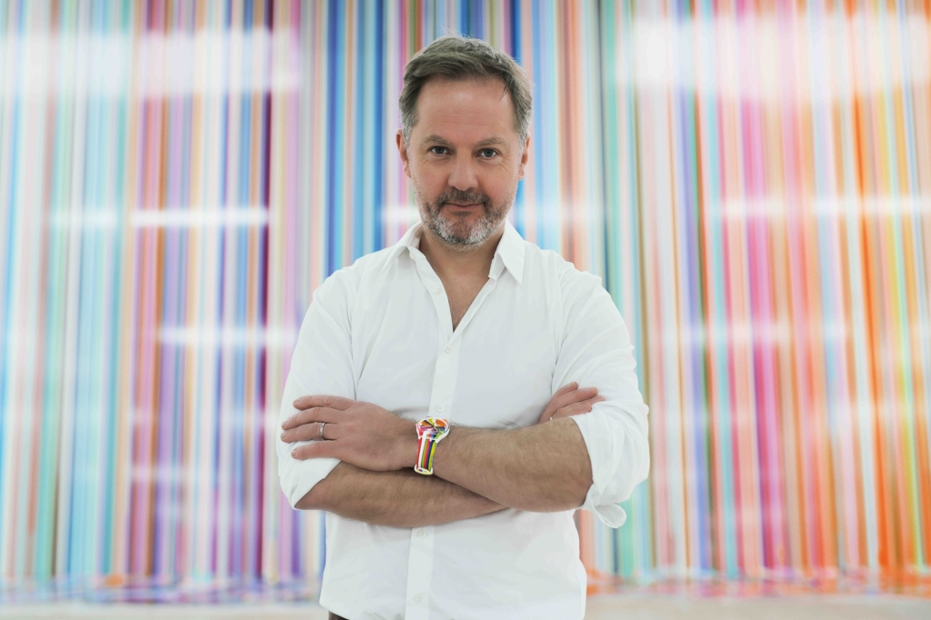 """Ian Davenport wearing the """"Wide Acres of Time"""" watch."""