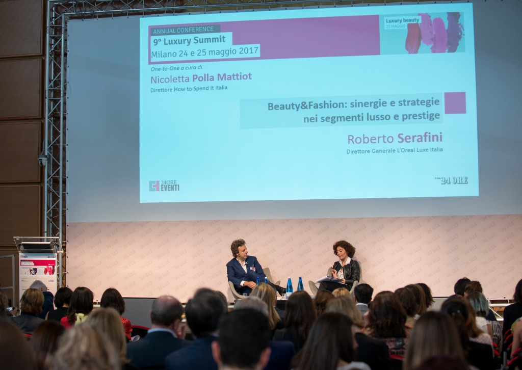 Roberto Serafini, general director of L'Oréal Luxe Italia, and Nicoletta Polla Mattiot, director of How to Spend It Italia.