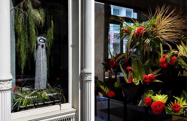 Proenza Schouler x Emily Thompson Flowers window displays.
