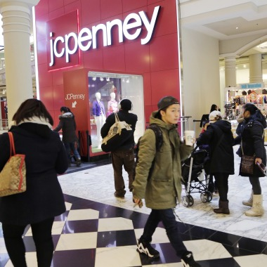 Shoppers visit a J.C. Penney store in New York. The Texas-based retailer reports financial resultsEarns JC Penney, New York, USA