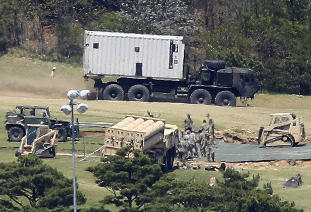 The Terminal High Altitude Area Defense (THAAD) deployed in a golf course in the country's southeastern county of Seongju, South Korea, on April 27, 2017.
