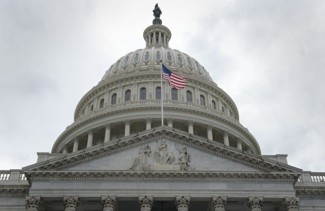Copyright 2017 The Associated Press. All rights reserved. This material may not be published, broadcast, rewritten or redistributed without permission.Mandatory Credit: Photo by AP/REX/Shutterstock (8789095d)House Republicans A flag flies in front of the Capitol dome on Capitol Hill in Washington, after the Republican health care bill passed in the HouseCongress Health Care, Washington, USA - 04 May 2017