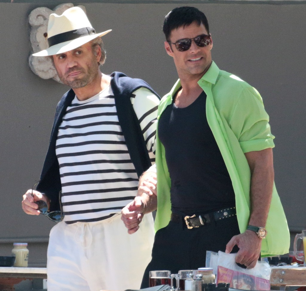 Ricky Martin and Edgar Ramirez'Versace: American Crime Story' on set filming, Miami, USA - 08 May 2017Ricky Martin and Edgar Ramirez film American Crime Story at News Cafe in Miami Beach