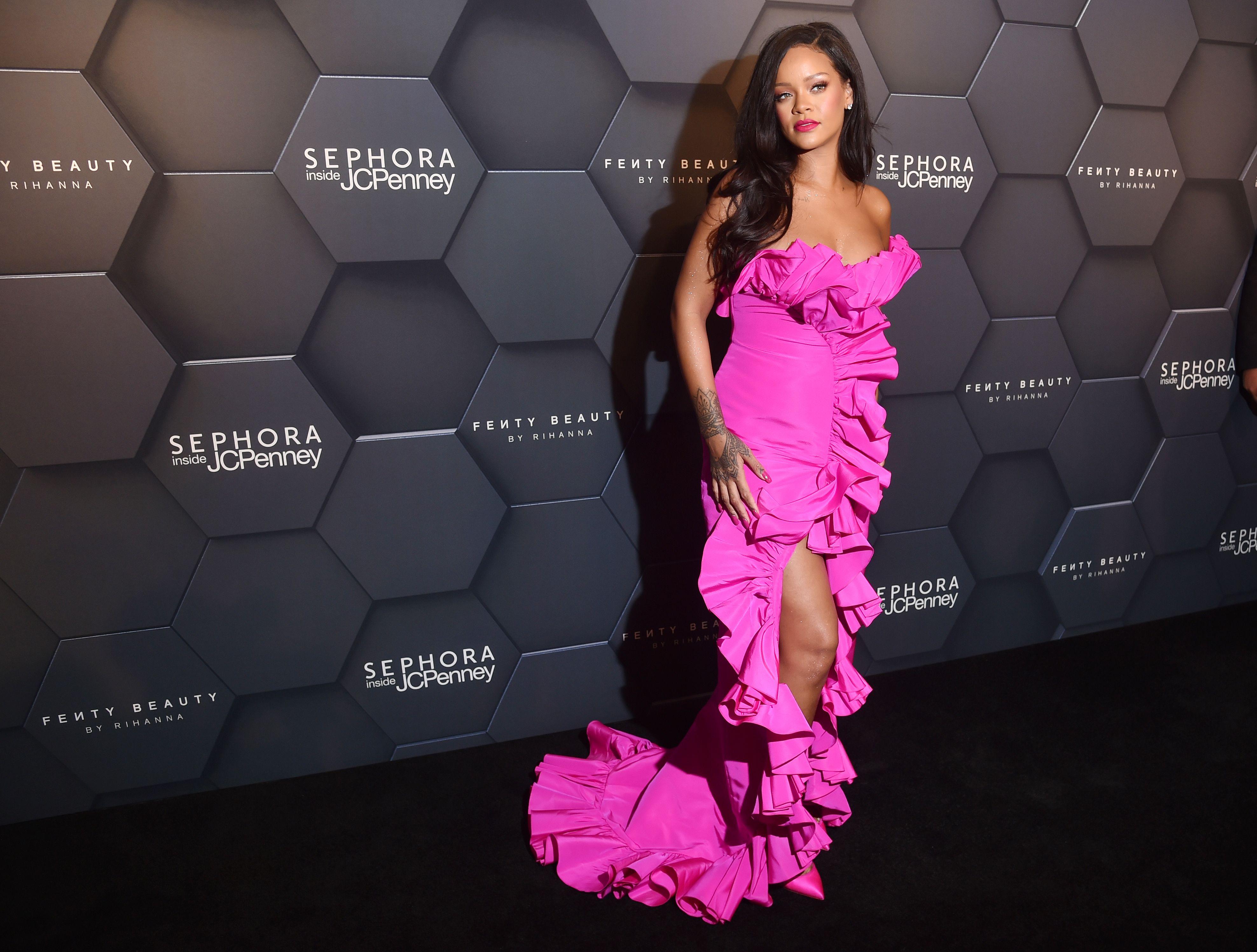 Rihanna at the Fenty Beauty by Rihanna One Year Anniversary Celebration in New York, September 2018.