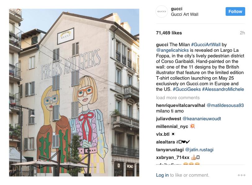Gucci's mural in Milan.