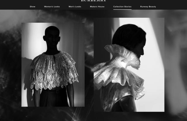 A screen shot of Burberry.com