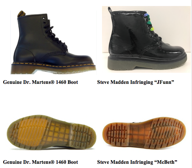 A comparison of Dr. Martens and two Steve Madden styles at issue pulled from the complaint.