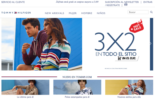 Tommy Hilfiger's Mexican web site with Grupo Axo.