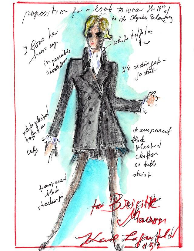Sketch By Karl Lagerfeld  for B.Macron