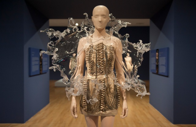 "Iris van Herpen's ""Cristallization"" dress on display at the Dallas Museum of Art as part of the exhibition devoted to the designer."