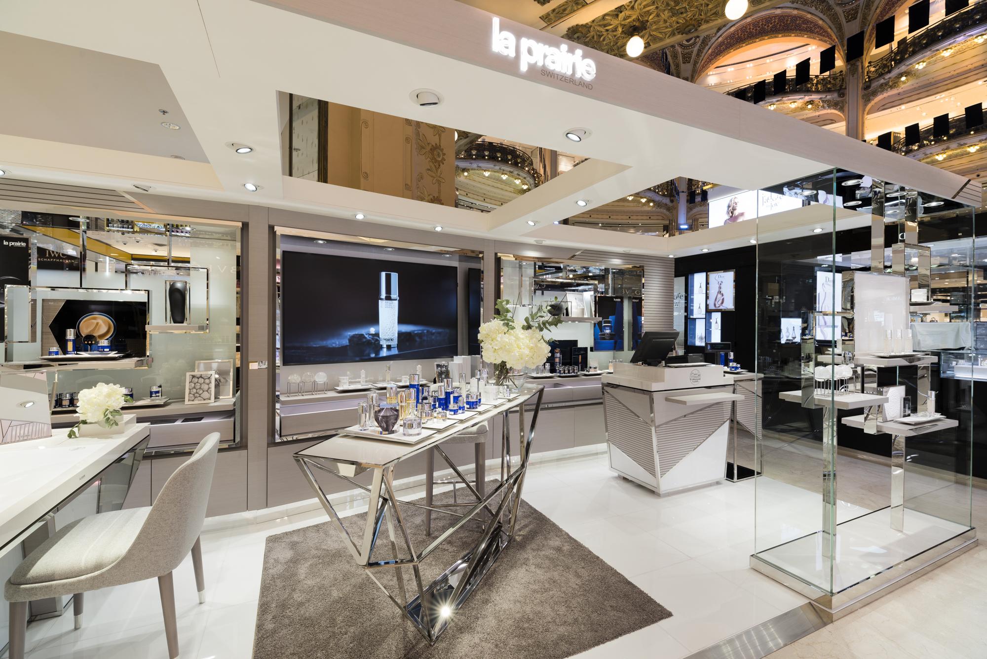 La Prairie's new store design at Galeries Lafayette.