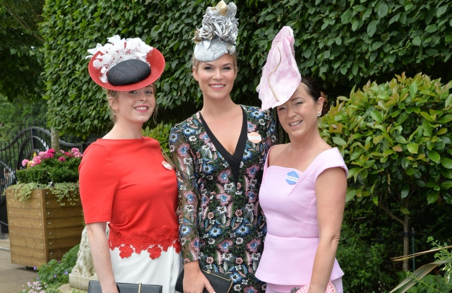Lauren Moncreaff, Michelle Tilley and Leigh Johnson arrive at the racecourse.Royal Ascot 2017, Day Five, on Saturday 24th June.