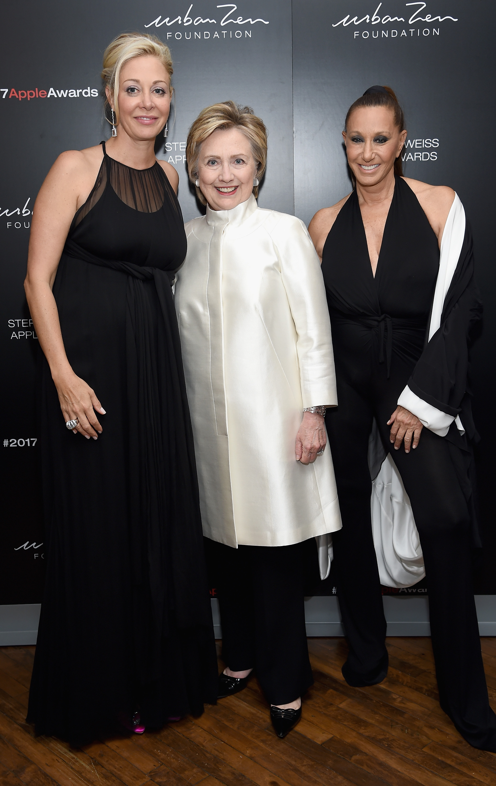 NEW YORK, NY - JUNE 07:  Nadja Swarovski, Hillary Rodham Clinton and Donna Karen attend the 2017 Stephan Weiss Apple Awards on June 7, 2017 in New York City.  (Photo by Dimitrios Kambouris/Getty Images for Urban Zen Foundation)