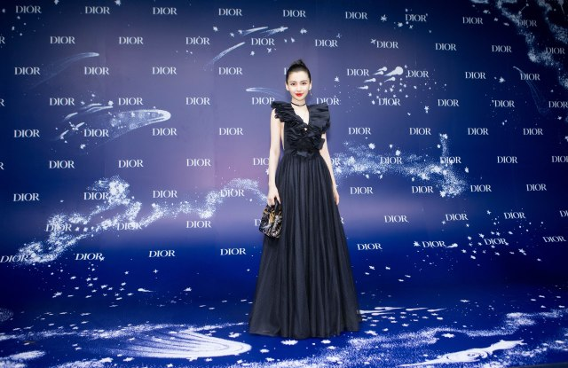 """Angelababy arrives at """"I Feel Blue"""" in Shanghai."""