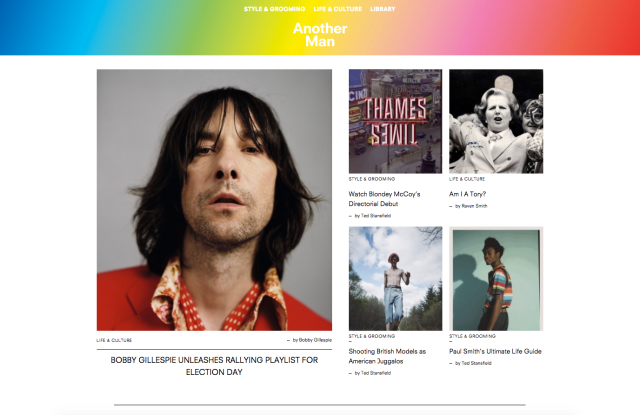 A screenshot of AnOther Man's website