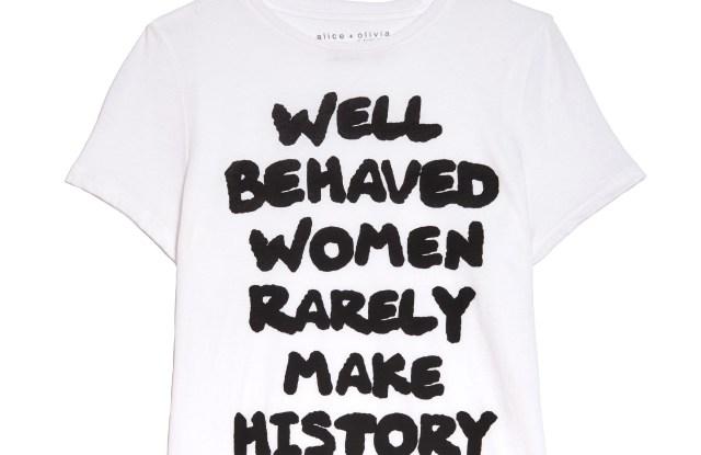 An Alice + Olivia empowerment T-shirt.