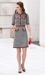 The Duchess of Cambridge (in Gucci) visits the Victoria & Albert Museum