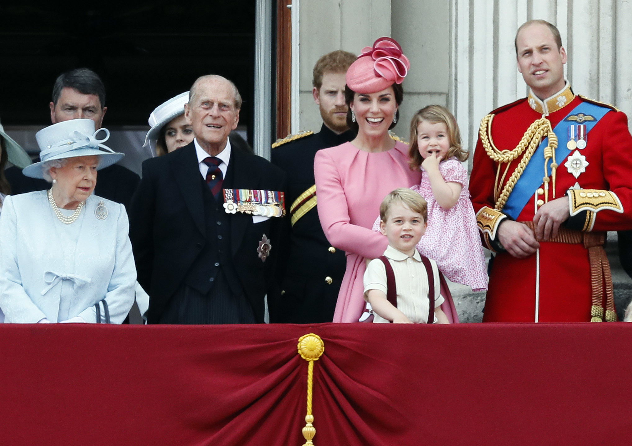 Queen Elizabeth, the Duke of Edinburgh, Prince Harry, Duchess of Cambridge (in Alexander McQueen) Prince William, Prince George and Princess Charlotte at the Trooping the Colour Parade