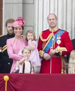 Prince Harry, Duchess of Cambridge (in Alexander McQueen) Prince William, Prince George and Princess Charlotte at the Trooping the Colour Parade