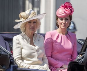 The Duchess of Cornwall and the Duchess of Cambridge (in Alexander McQueen) at Trooping the Colour Parade