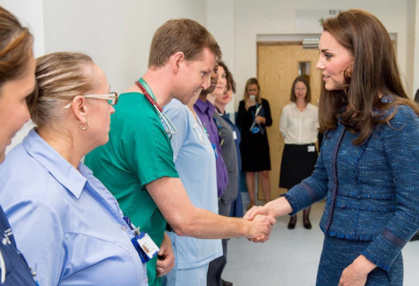 The Duchess of Cambridge (in Rebecca Taylor) visited victims of the London terror attack at King's College Hospital