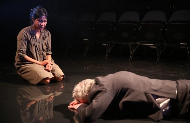 "Thusitha Jayasundera and Declan Conlon in ""My Eyes Went Dark."""