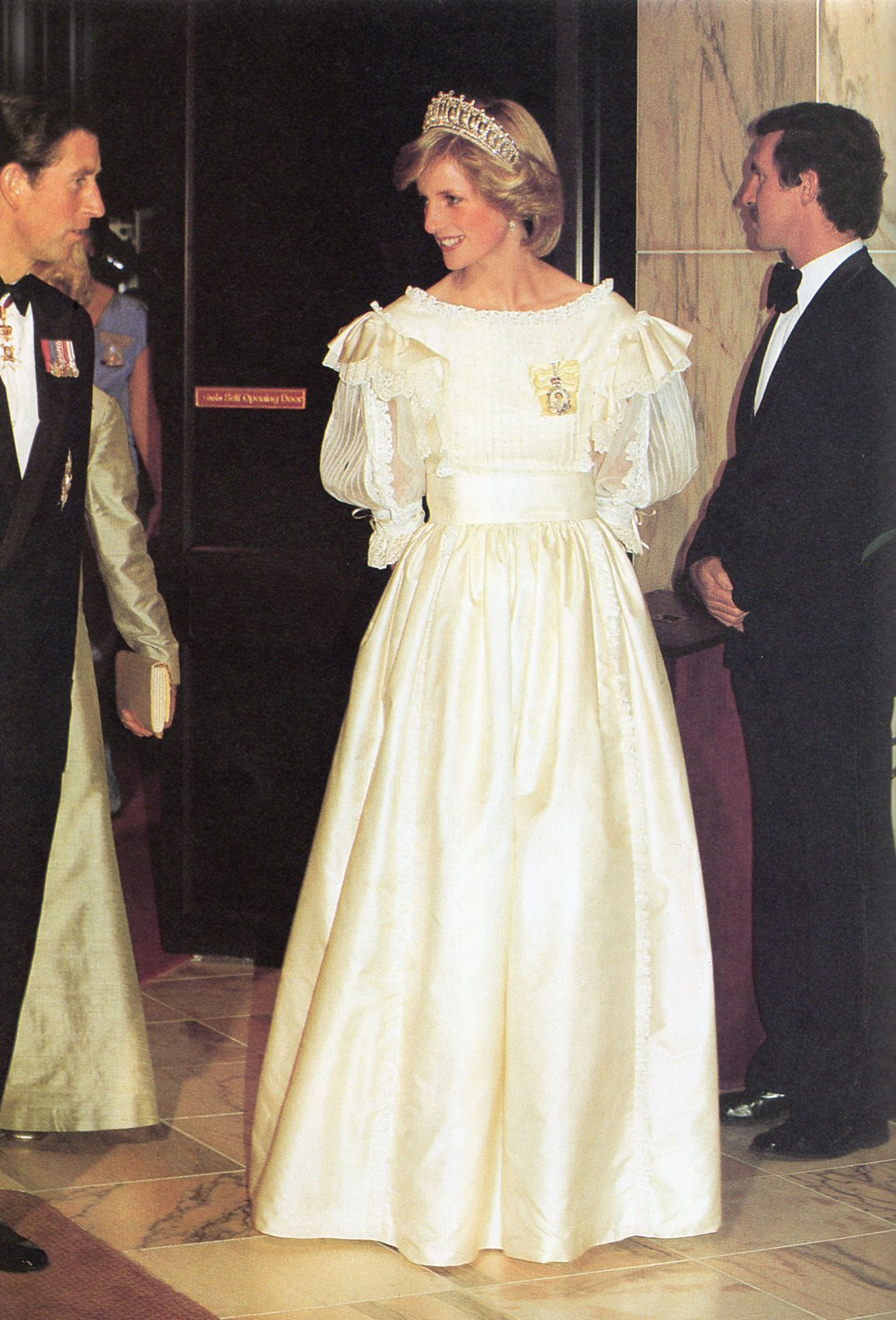 Princess Diana wearing a Gina Fratini's design in Auckland during the royal tour of New Zealand in May 1983