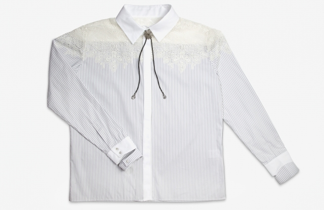 The Karoline Lang tuxedo shirt customised by Jade Jagger.