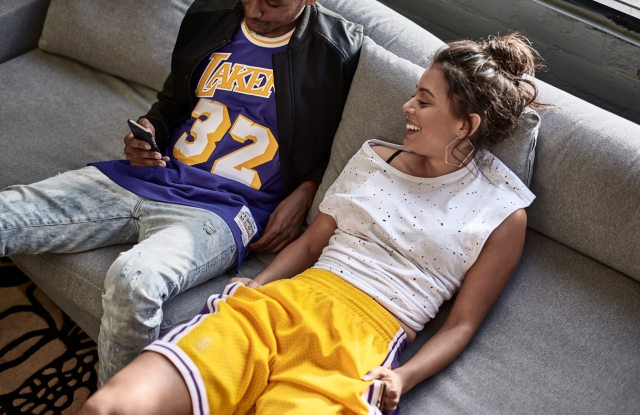 A look from the Mitchell & Ness Swingman campaign.
