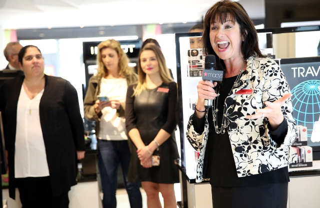 Macy's Herald Square manager Kathy Hilt introduces magic mirrors to the beauty floor.