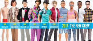 An image of the Ken dolls on display at Machine-A