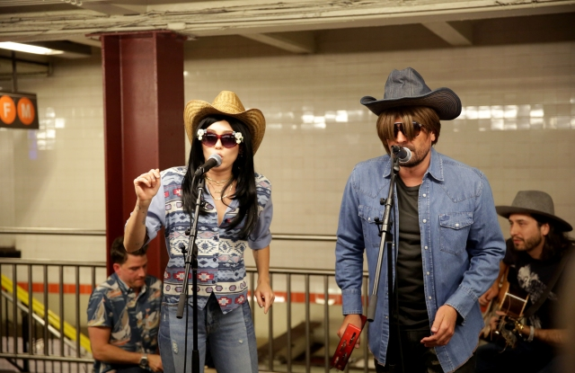 "THE TONIGHT SHOW STARRING JIMMY FALLON -- Episode 0692 -- Pictured: (l-r) Musical Guest/Co-Host Miley Cyrus with host Jimmy Falllon ""Subway Busking"" on June 13, 2017 -- (Photo by: Andrew Lipovsky/NBC/NBCU Photo Bank)"